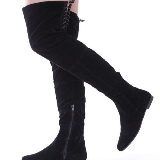 Cierne cizmy nad kolena so snurovackou