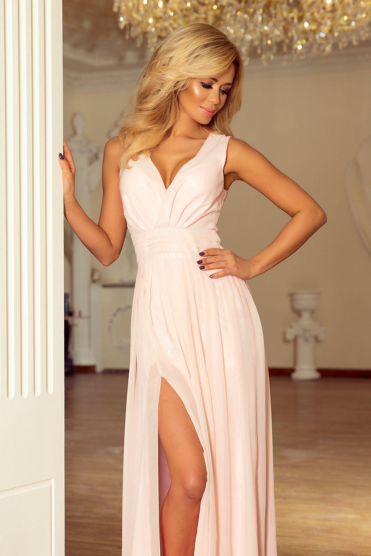 Dlhé spoločenské šaty s rozparkom Numoco Light Pink – Sissy Boutique 314a6e4e18d