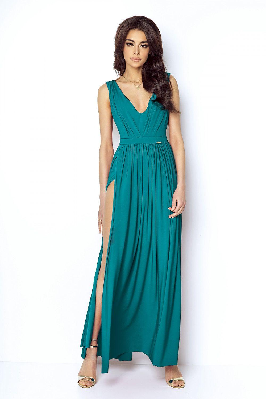 Dlhé spoločenské šaty s rozparkom Ivon Green – Sissy Boutique 24fd16562ab