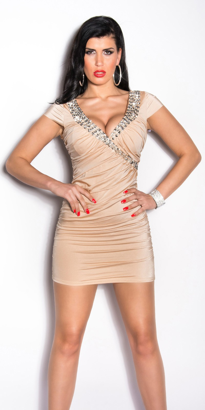 5644f7fb8f72 ooKouCla minidress gathered with sequins  Color BEIGE Size Onesize 0000K9014 BEIGE 4 2