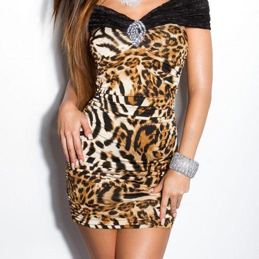 Kratke spolocenske saty leopardi motiv