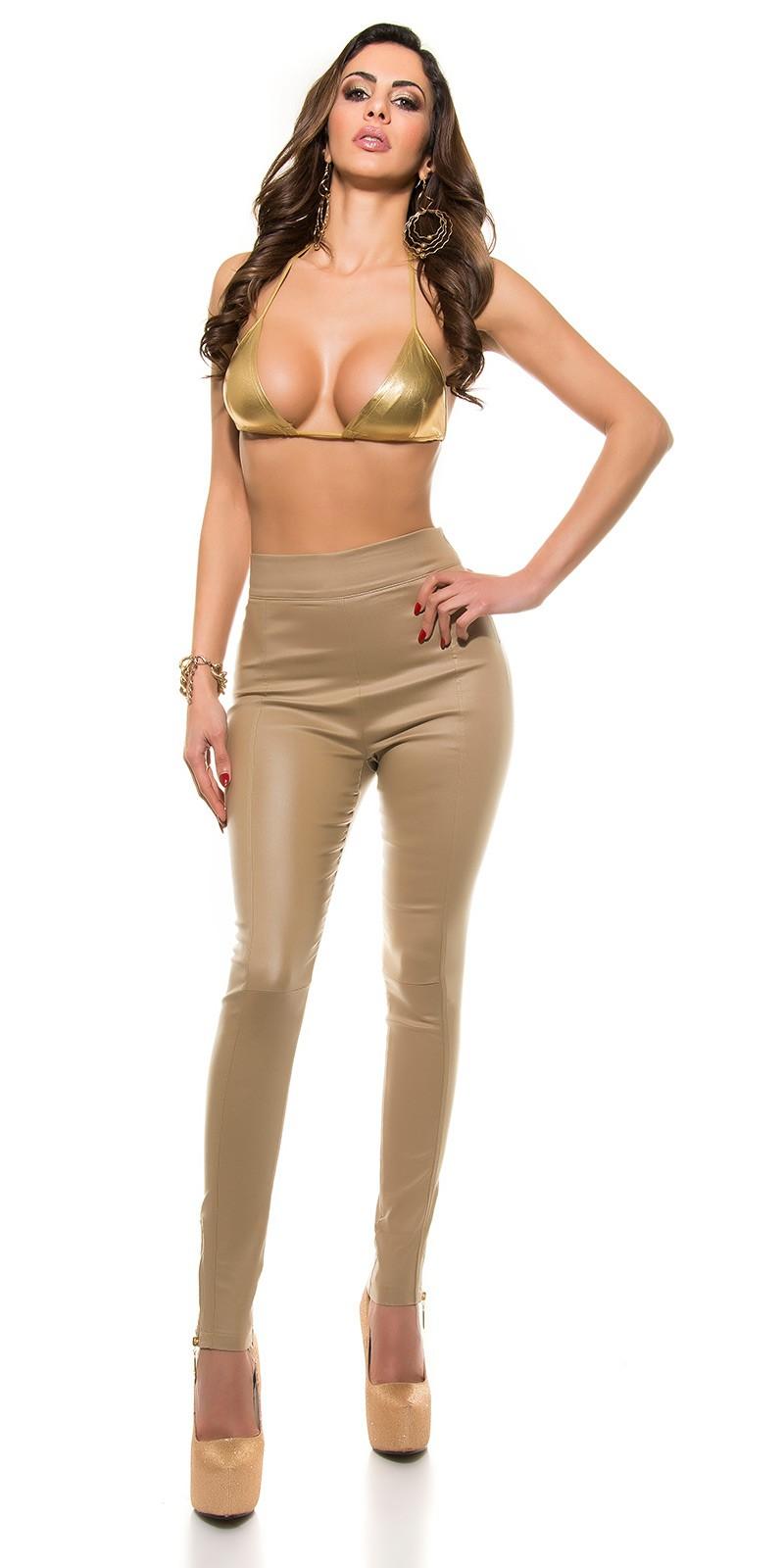 123be01cb93d Nohavice s vysokým pásom koženého vzhľadu KouCla Beige – Sissy Boutique