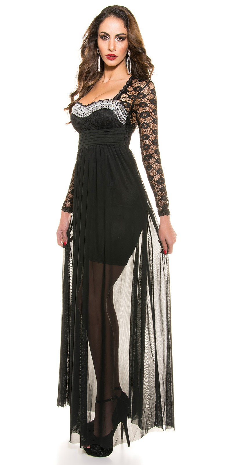 ooKoucla evening dress with lace  Color BLACK Size S 0000K9141 SCHWARZ 24 ·  Dlhe spolocenske saty s dlhym rukavom 447fee3f82a