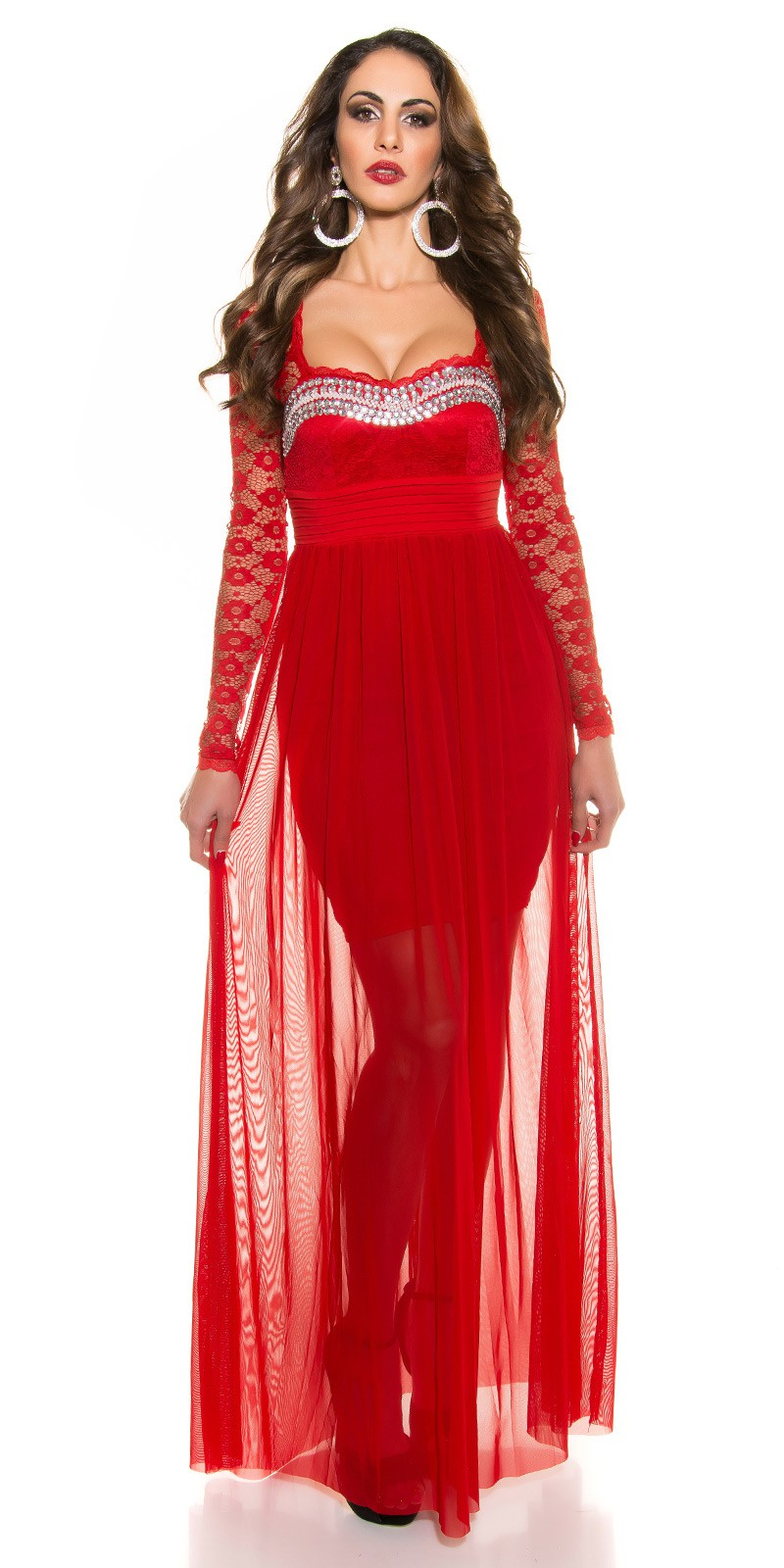ooKoucla evening dress with lace  Color RED Size S 0000K9141 ROT 12. Dlhe  spolocenske saty s dlhym rukavom 5dcda663247