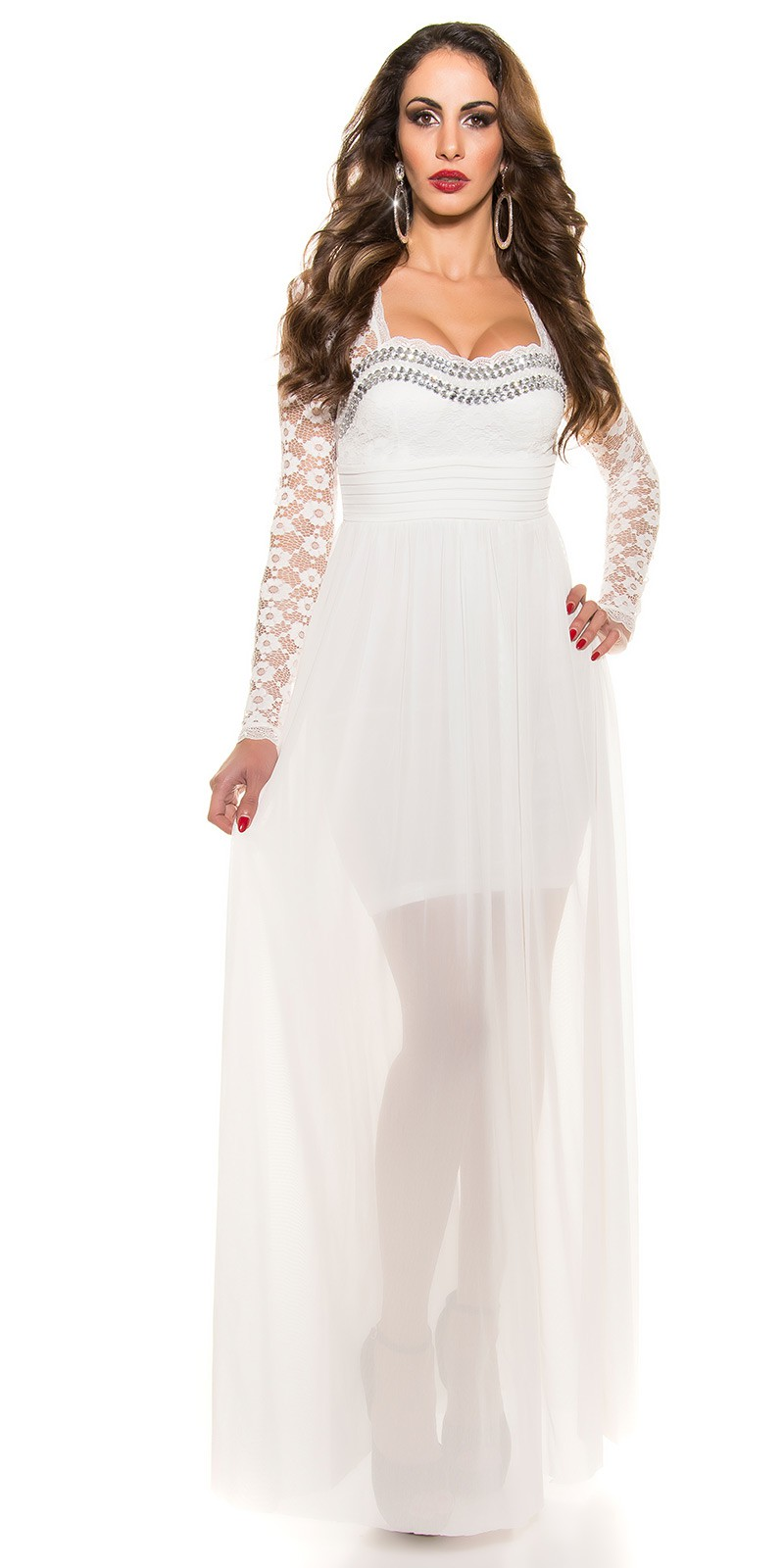 9087363b5bc6 ooKoucla evening dress with lace  Color WHITE Size S 0000K9141 WEISS 34 ·  Dlhe spolocenske saty s dlhym rukavom