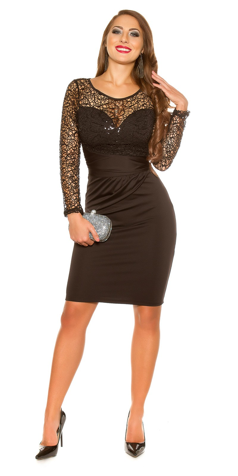 ookoucla partydress with lace  sequins  Color BLACK Size M 0000K19435 SCHWARZ 24 1 f7a12741373