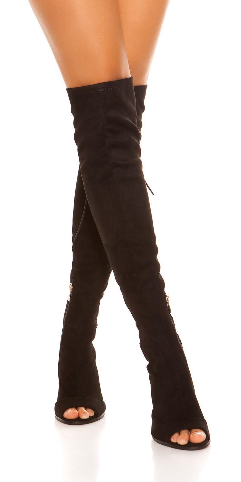 bfbcdc26c3 vvOverknees Peeptoe Boots Suede Look  Color BLACK Size 36 0000ES-2593 SCHWARZ 3