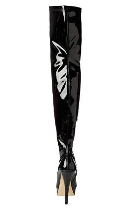 Čižmy nad kolená Slim Black Patent – Sissy Boutique b71738a9ca1