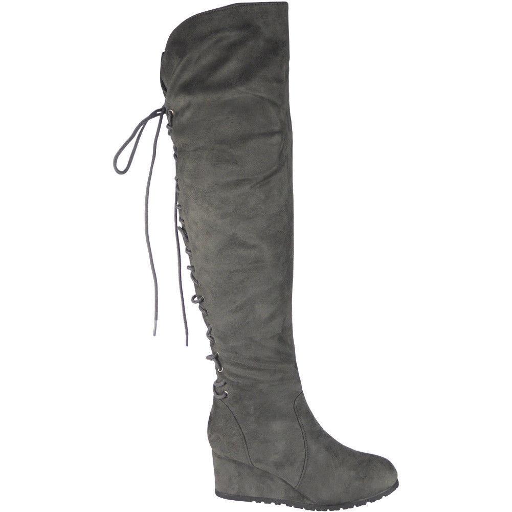 6fd645eaf274 Semišové čižmy nad kolená na platforme Grey Lace – Sissy Boutique