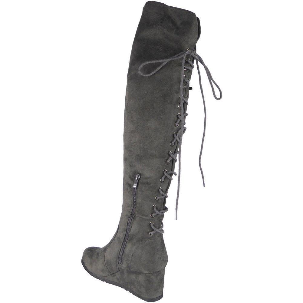 Semišové čižmy nad kolená na platforme Grey Lace – Sissy Boutique 4ac5aee4251