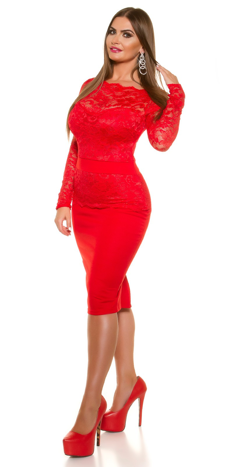 dc787965825c iiGirls Size Sexy KouCla Midi-Dress with lace  Color RED Size 16 0000K18406C ROT 25