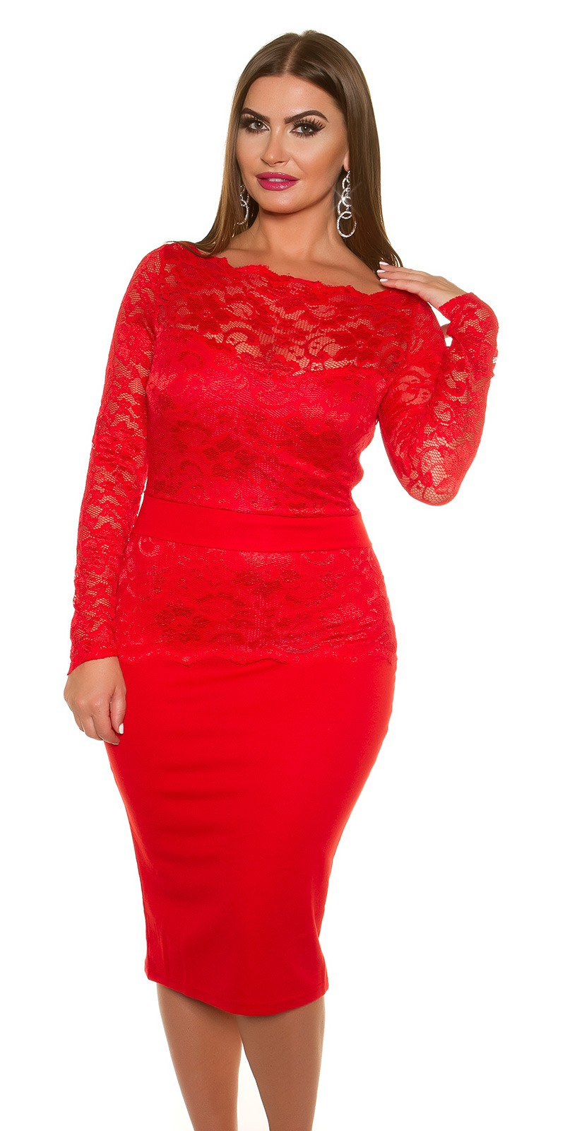 06e20dcbd524 iiGirls Size Sexy KouCla Midi-Dress with lace  Color RED Size 16 0000K18406C ROT 23.  Cervene saty pre moletky