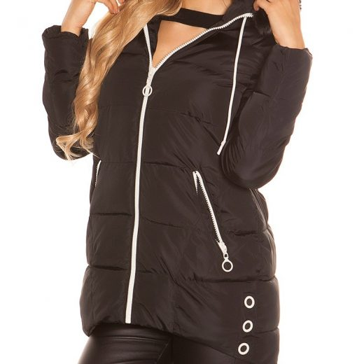 Cierna predlzena zimna bunda damska