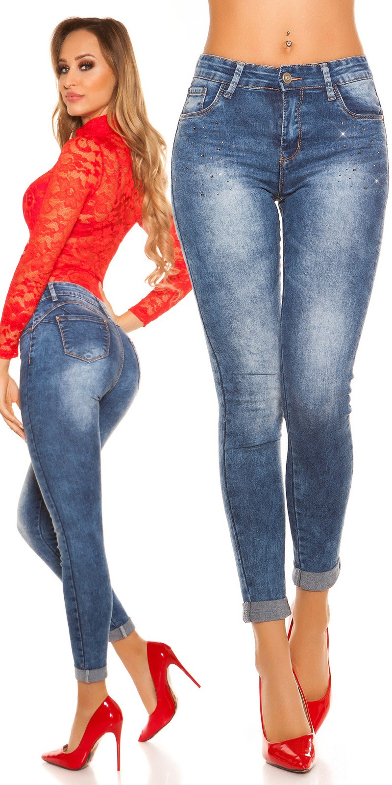 1300d9155d00 kkSkinny PuSH UP jeans with rhinestones  Color JEANSBLUE Size 36 0000YA1810 JEANSBLAU 6  · Rifle s vysokym pasom