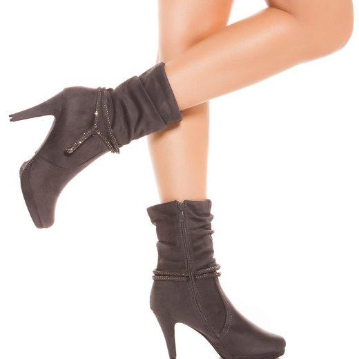 Sede kotnikove cizmy na podpatku