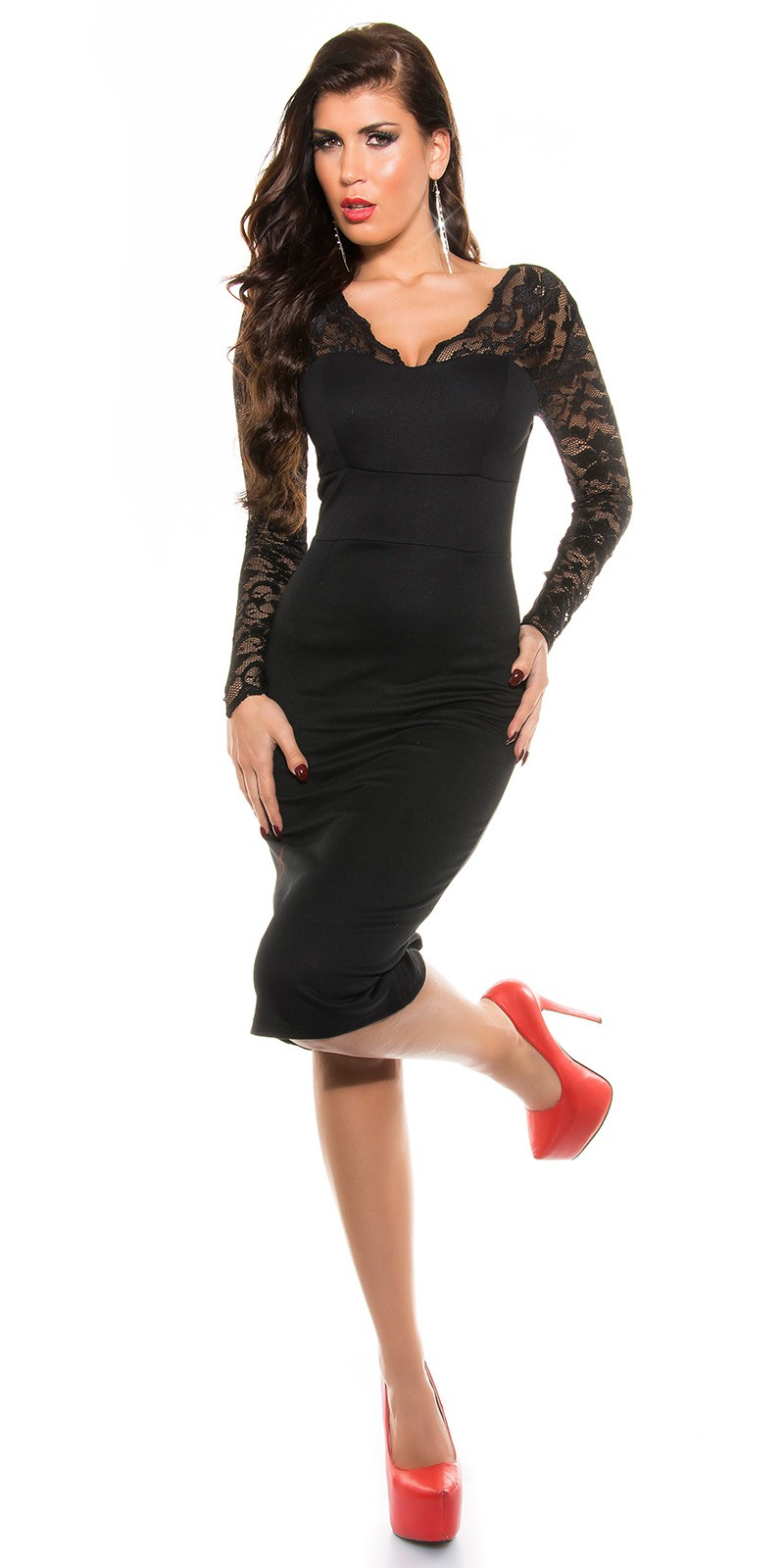 ooKouCla Midi-Dress with lace  Color BLACK Size 8 0000K18409 SCHWARZ 48.  Cierne spolocenske saty pod kolena 91500b7af65