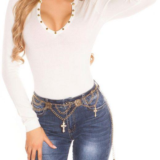 Biely sveter so zdobenim