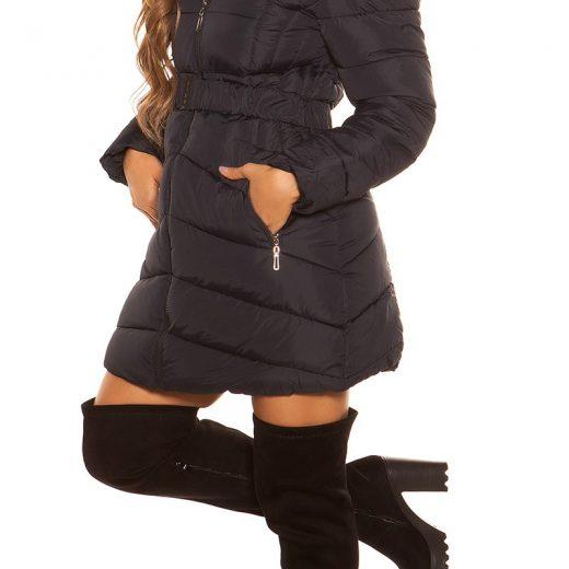 Tmavomodra dlha zimna damska bunda