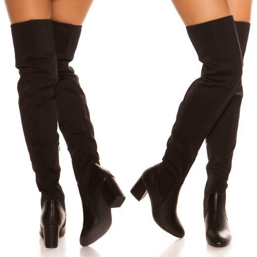 Cizmy nad kolena na nizsom podpatku