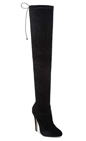 Semisove cizmy nad kolena na podpatku