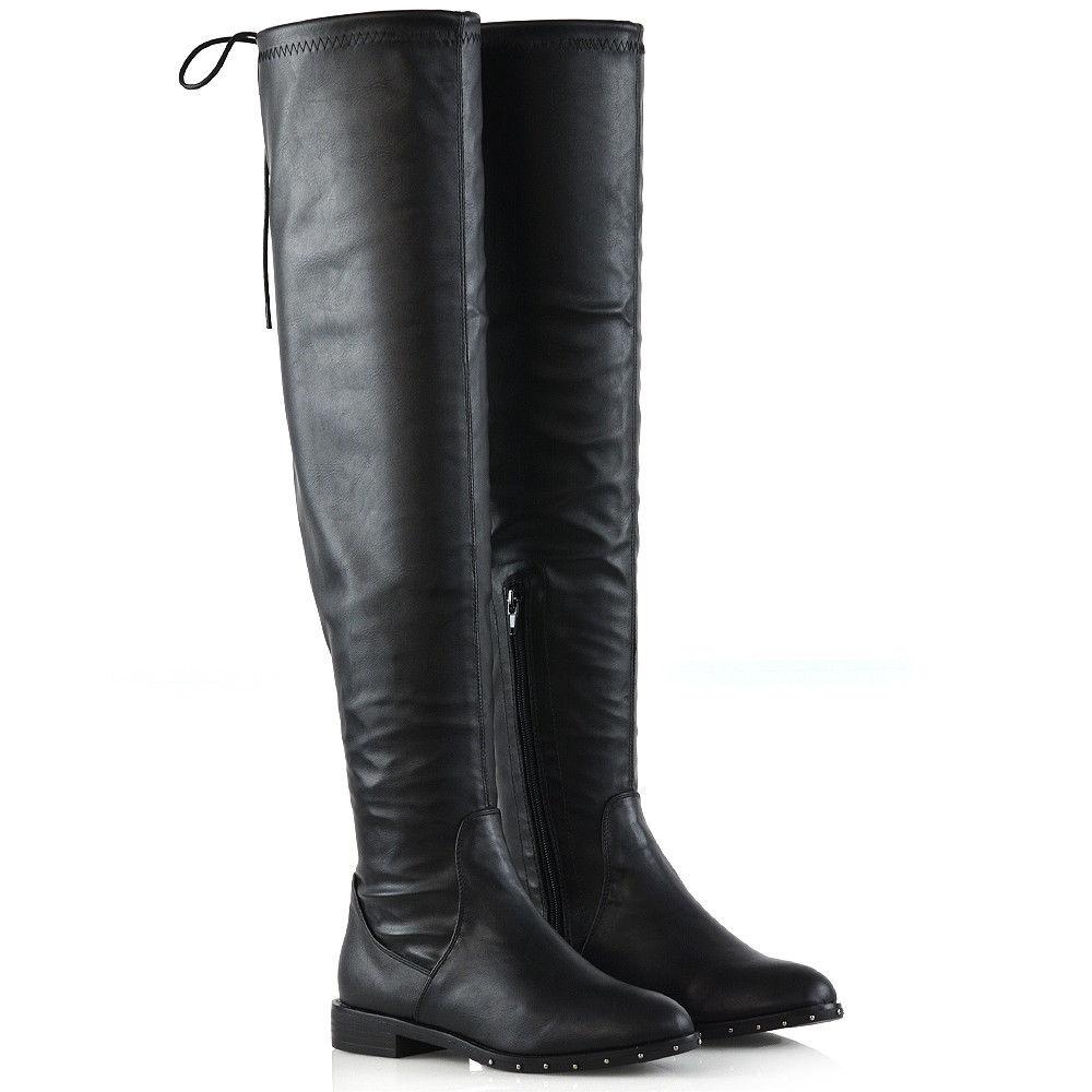 Elastické čižmy nad kolená Black Matt – Sissy Boutique da0302422ce