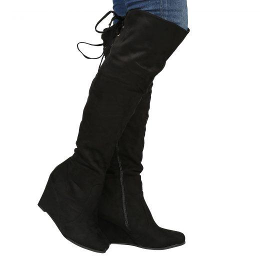 Cizmy na plnej platforme nad kolena