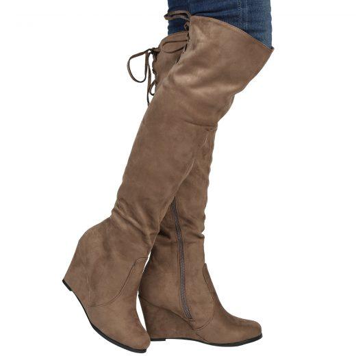 Semisove cizmy nad kolena na platforme