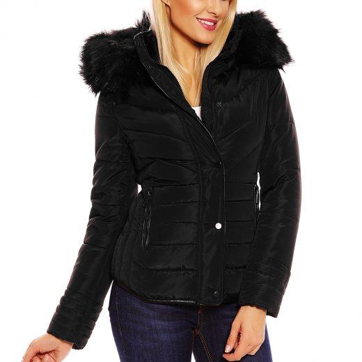 Cierna zimna bunda s hustou kozusinou na kapucni