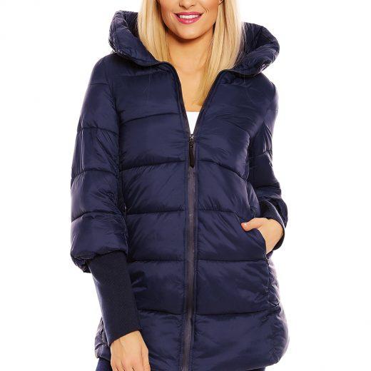 Presivana zimna bunda s kapucnou tmavomodra