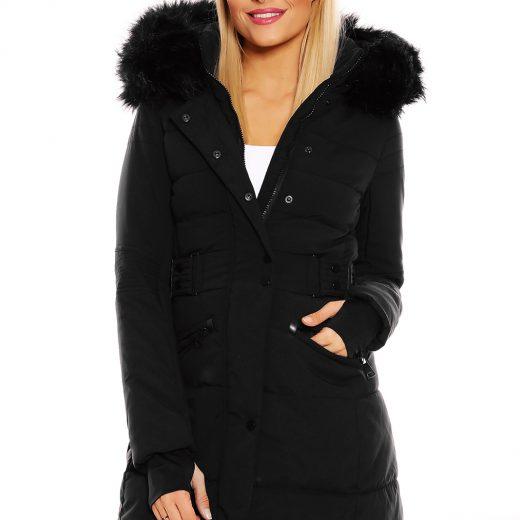 Zimna predlzena damska bunda ciernej farby