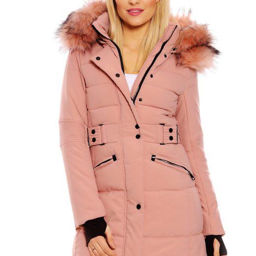 Dlha damska zimna bunda ruzovej farby