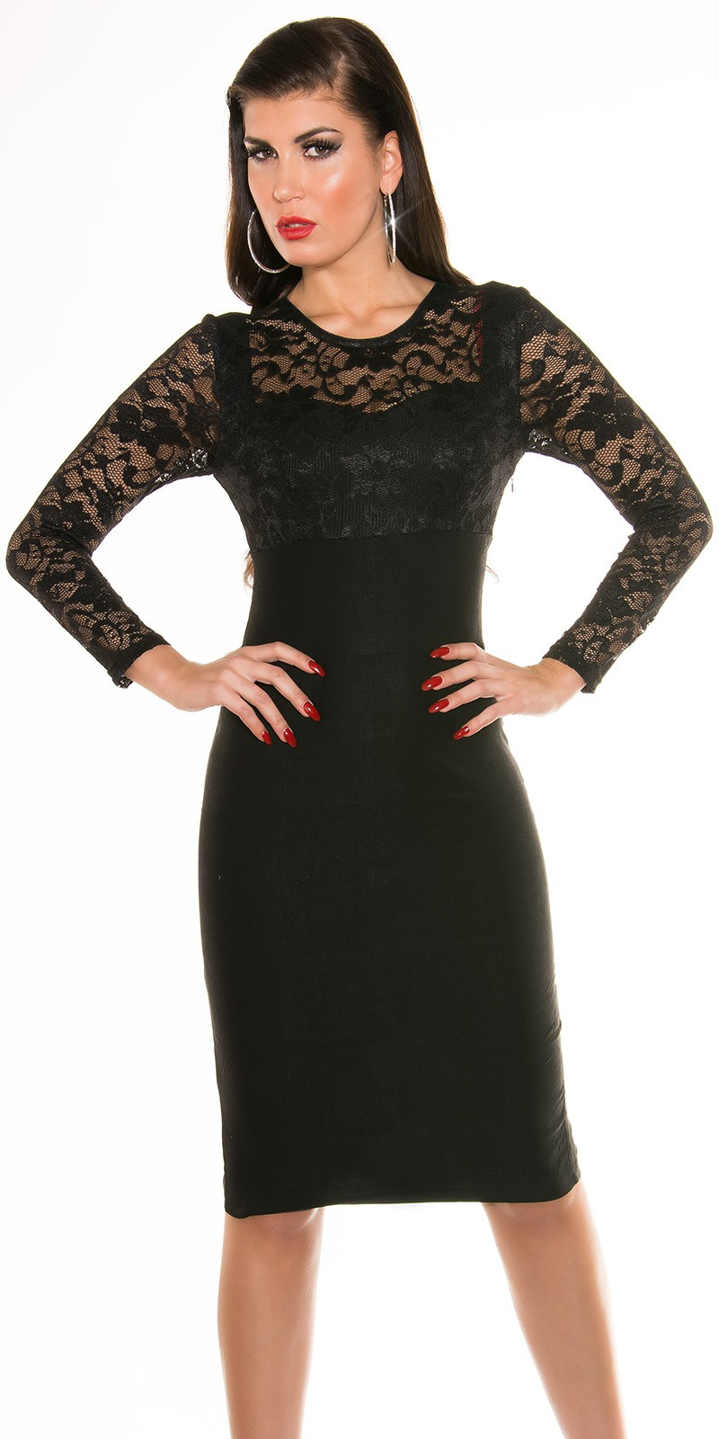 ooKouCla Pencildress with lace  Color BLACK Size 14 0000K9111 SCHWARZ 48.  Midi spolocenske saty s cipkou f34d33104a9