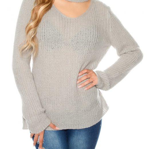 Pleteny sveter sedej farby