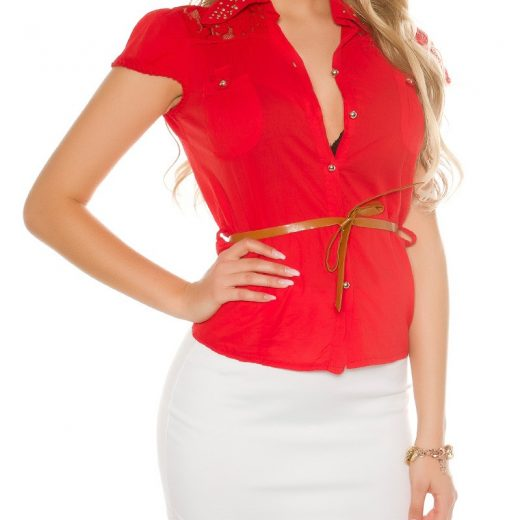 Cervena bluzka kratky rukav