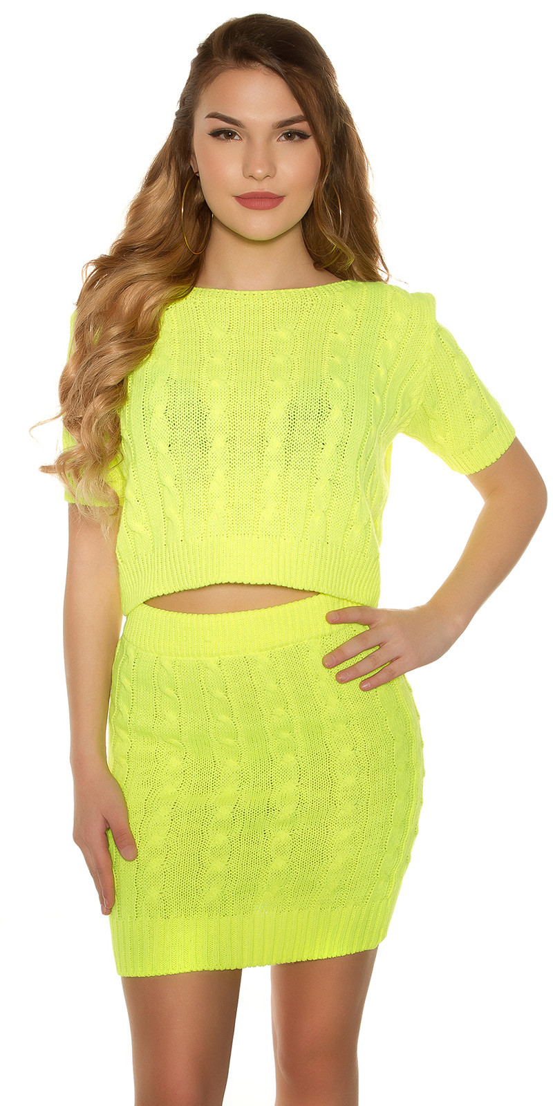 fb7cda974e17 eeset chunky short sleeve sweater and skirt  Color NEONYELLOW Size Einheitsgroesse 0000SET886 NEONGELB 1