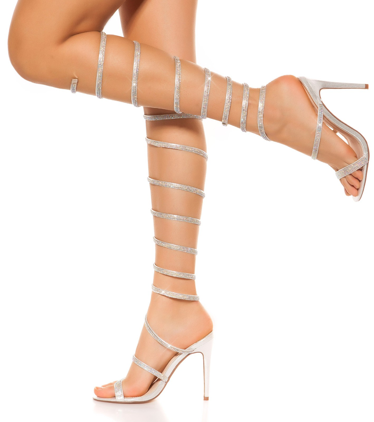 f002063e0b llAll OVer Strappy High Heels with rhinestones  Color SILVER Size 36 0000SY-039 SILBER 21