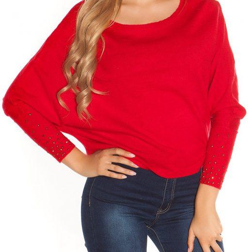 Crop pulover cervenej farby