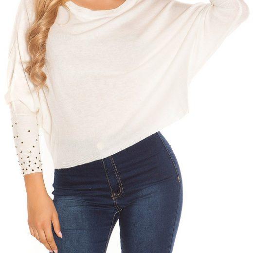 Biely crop pulover