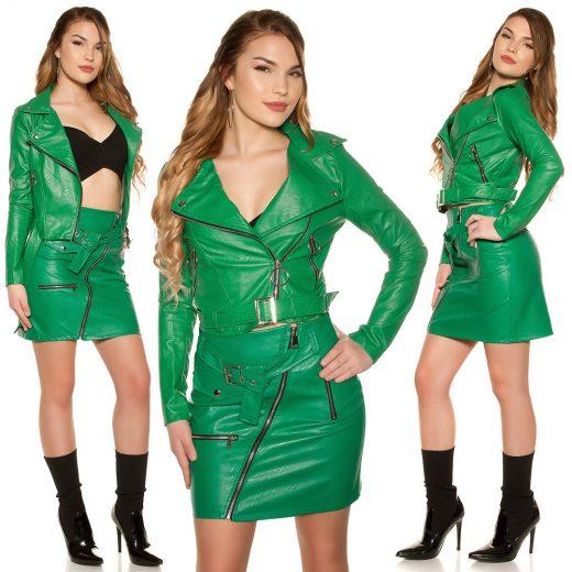 Zelena kozena bunda do pasa s opaskom