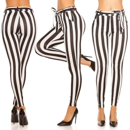 Damske pasikave nohavice cierno-biele