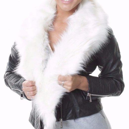 Kozena bunda s bielou kozusinou