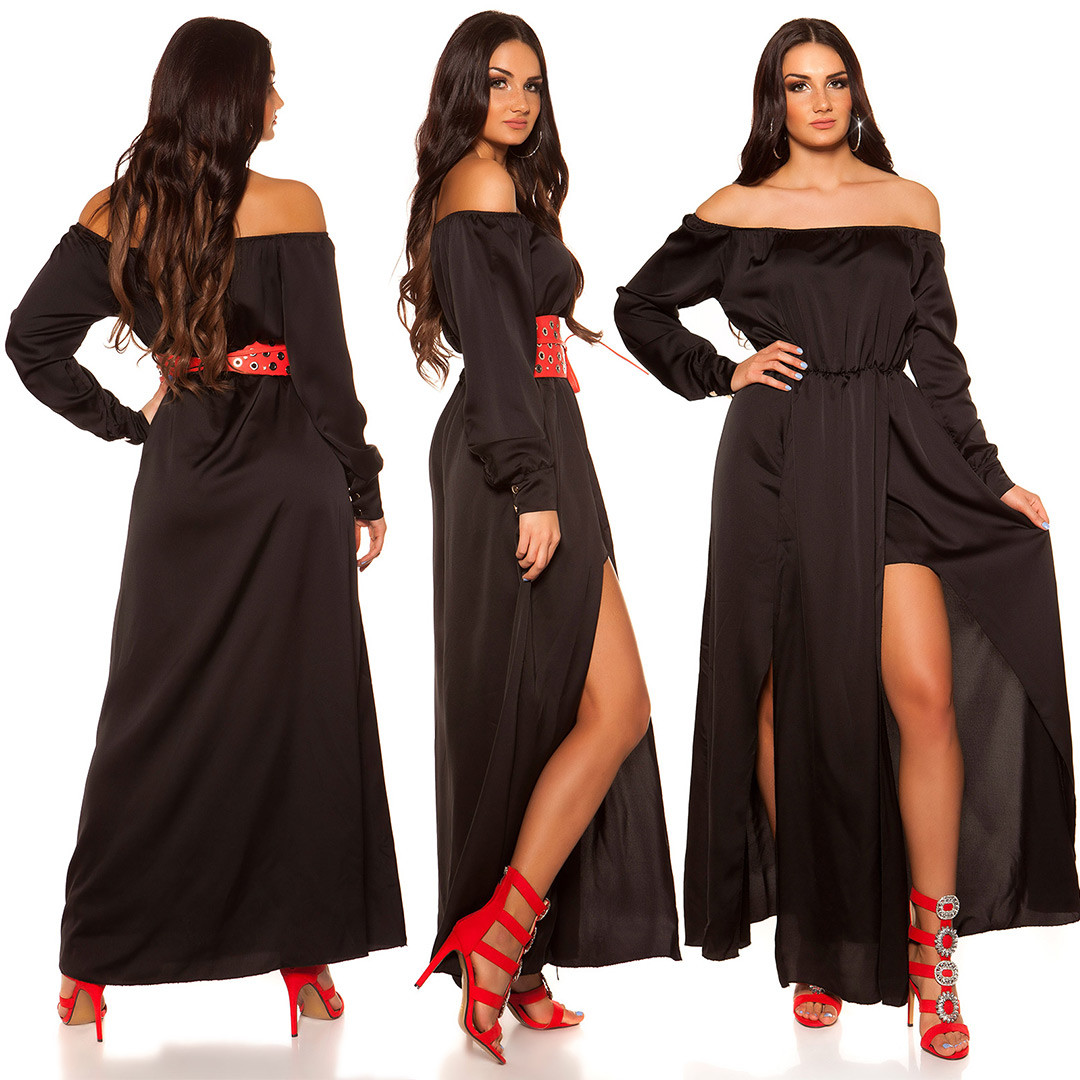 40688cdb15ae iiHigh Low Off Shoulder Dress in Satin Look  Color BLACK Size Einheitsgroesse 0000K10414 SCHWARZ 33  · Dlhe spolocenske saty v satenovom vzhade