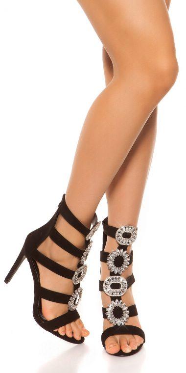 Cierne sandale na podpatku so zdobenim