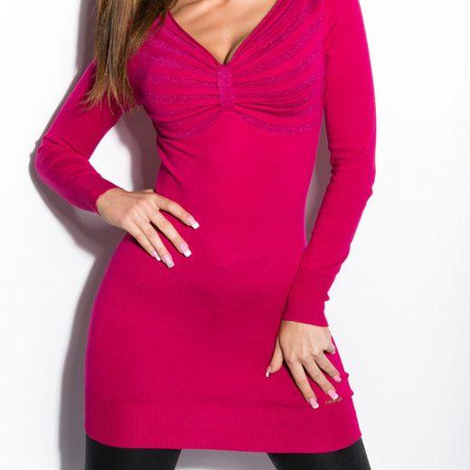 Damsky predlzeny pulover cyklamenovej farby