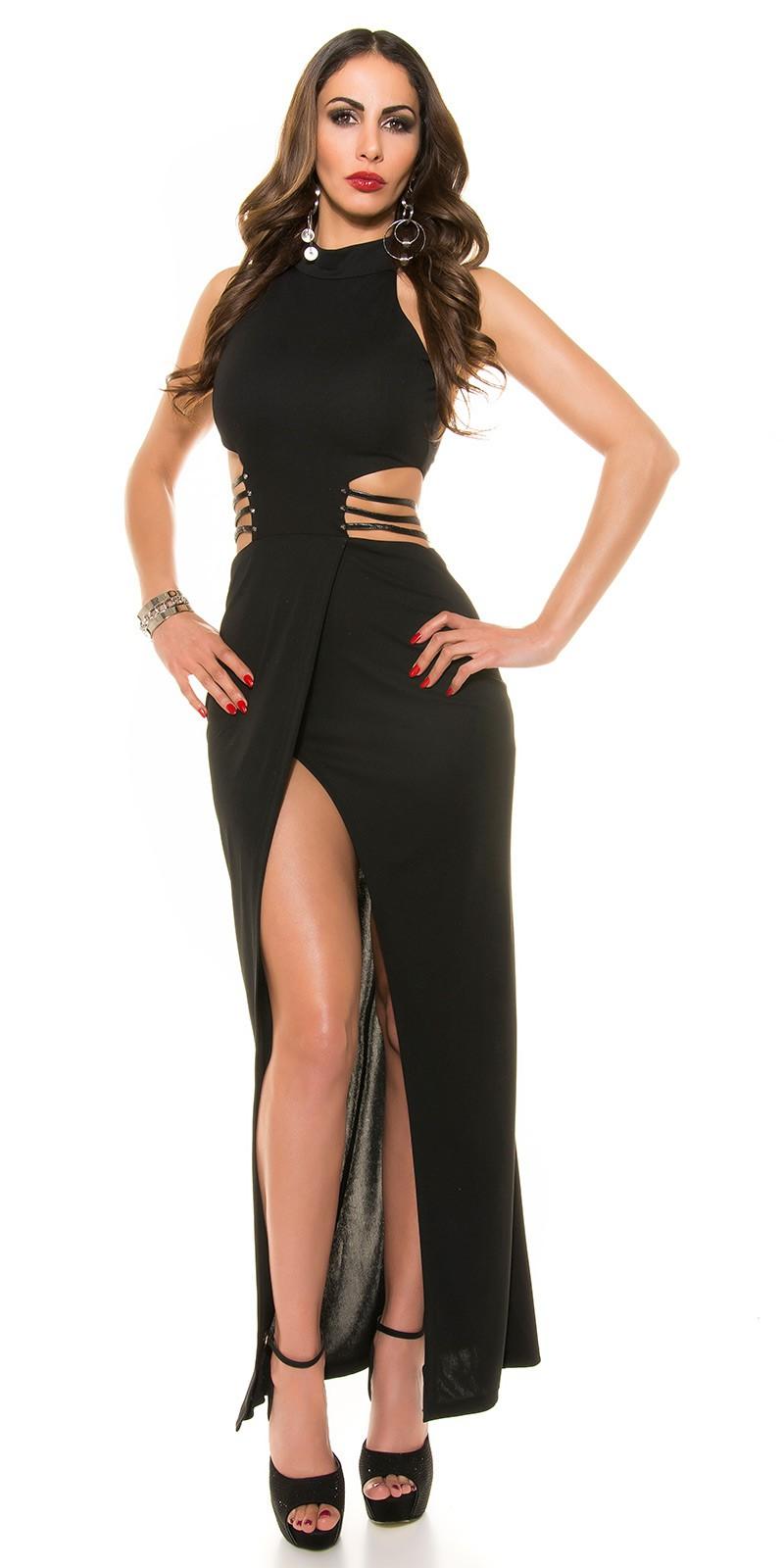 b3a99e9eb7d2 ooKouCla Kleid mit Sexy cut  slot  Color BLACK Size L 0000K9359 SCHWARZ 23  · Dlhe spolocenske saty ciernej farby