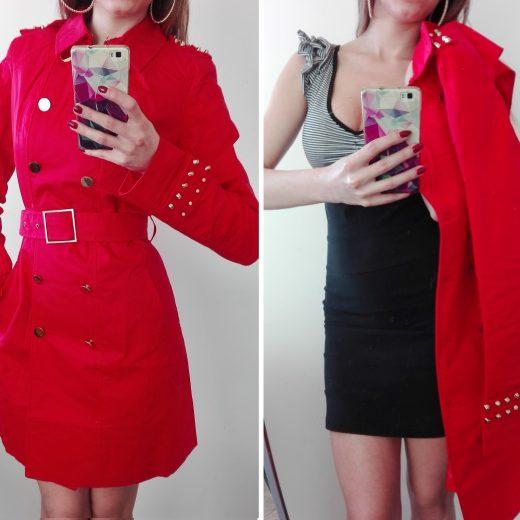 Prechodny kabat s opaskom cervenej farby