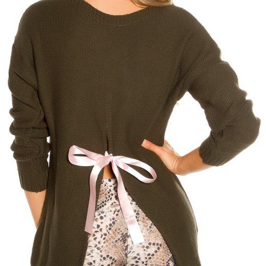 Damsky pulover s maslou v khaki farbe