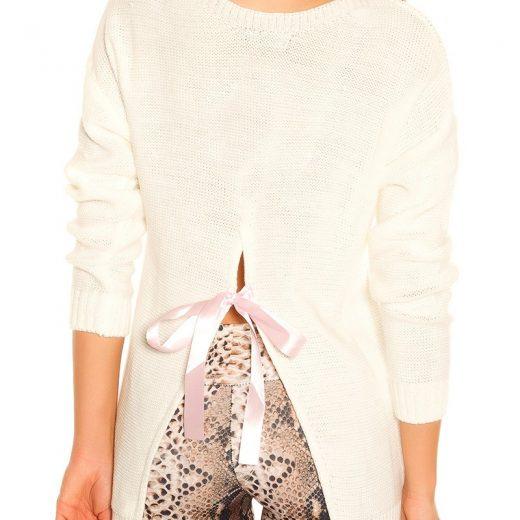 Biely damsky pulover s maslou KouCla