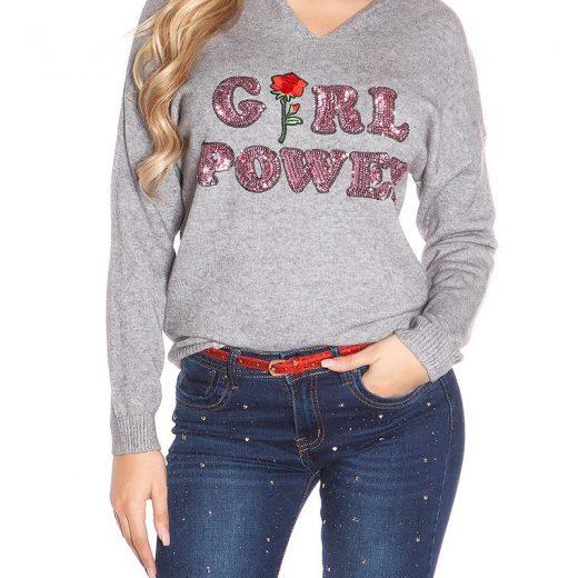 Damsky pulover s kapucnou a napisom