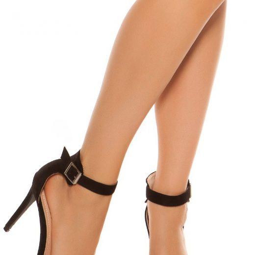 Cierne sandale na podpatku s prackou